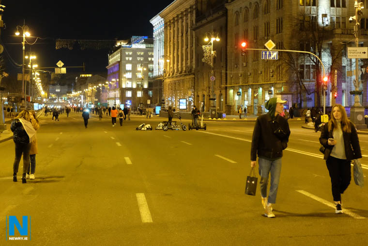 Kyiv closes of its main thoroughfare for people to wander around. Photograph: Columba O'Hare/ Newry.ie
