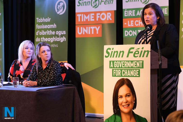Mary Lou McDonald, President, Sinn Féin speaking at tonights Newry meeting. Photograph: Columba O'Hare/ Newry.ie