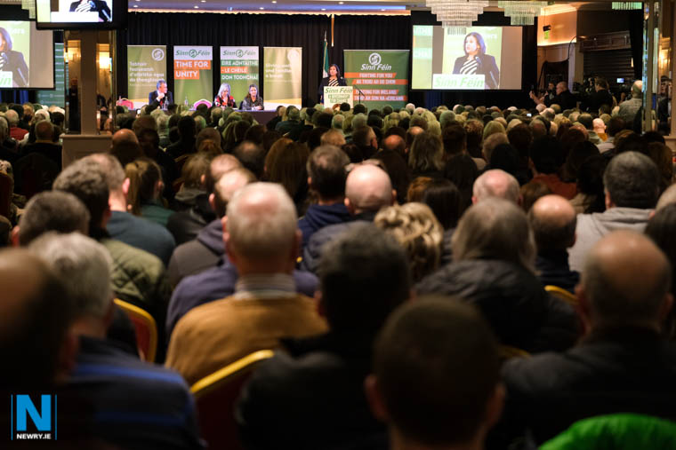 Mary Lou McDonald, President, Sinn Féin speaking in the Canal Court Hotel. Photograph: Columba O'Hare/ Newry.ie