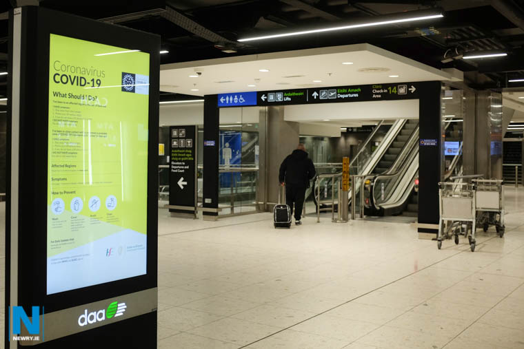 Coronavirus advice at Dublin Airport this week. Photograph: Columba O'Hare/ Newry.ie