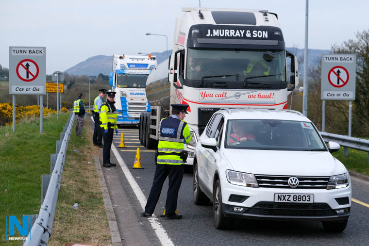 A Garda Checkpoint set at Carrickarnon up to ensure Coronavirus Guidelines are being observed by motorists. Photograph: Columba O'Hare/ Newry.ie