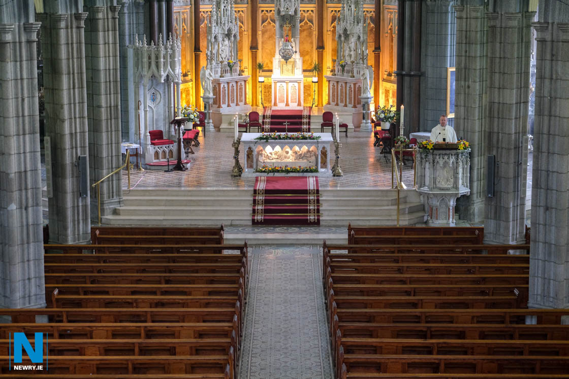 Archbishop Eamon Martin gives his Easter Homily to an empty Newry Cathedral at  Easter Sunday Mass. Photograph: Columba O'Hare/ Newry.ie