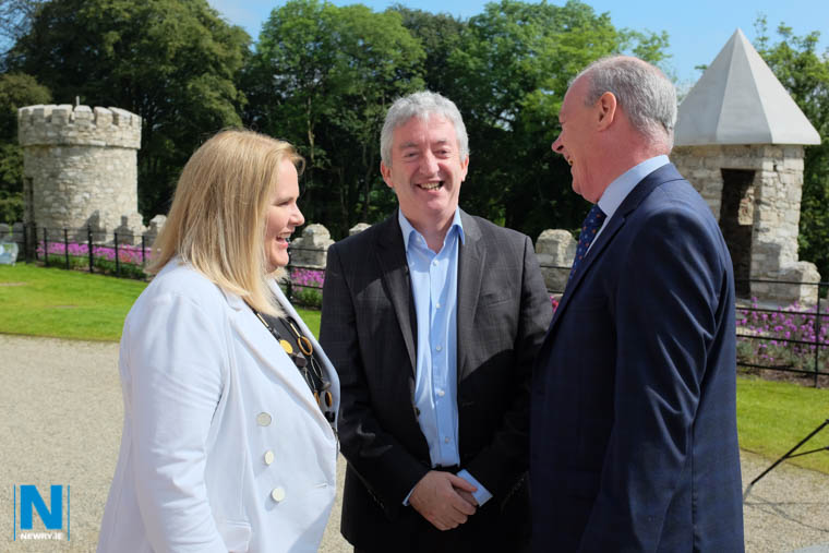 Marie Ward, Director, Enterprise, Regeneration & Tourism, Newry, Mourne and Down District Council; John McGrillen, Chief Executive, Tourism NI and Liam Hannaway, CEO, Newry, Mourne and Down District Council at the Killeavy Tourism event. Photograph: Columba O'Hare/ Newry.ie
