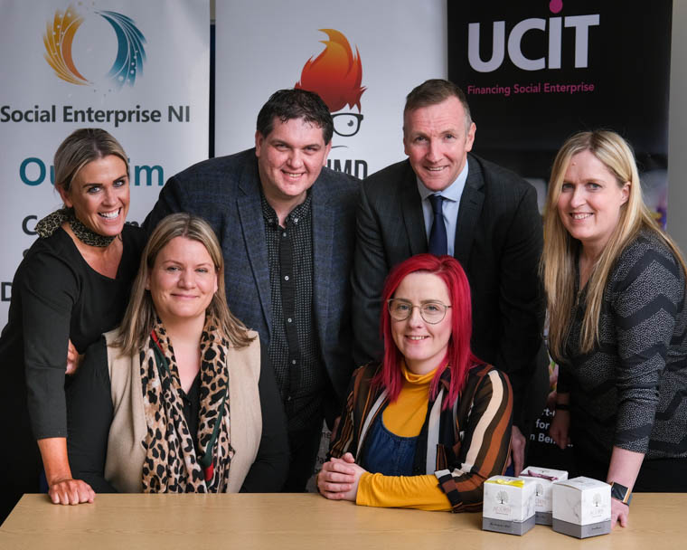 Centred Soul represented by Rosemary Deans,  front right, was the winner of the Social Enterprise NI Pitching Event Newry and Mourne. Runner up was Davina' Ark represented by Ciara Jane Devlin, front left. Also included back from left are: Carol Cox, Social Enterprise Advisor, Newry and Mourne Enterprise Agency; David Arthurs, Business Development Executive, Social Enterprise NI; Phelim Sharvin, NI Assistant Director, UCIT and Amanda Johnston, Operations and Membership Manager, Social Enterprise NI.  The event was sponsored  by UCIT, O'Neill Developments and supported by NMEA. Photograph: Columba O'Hare/ Newry.ie