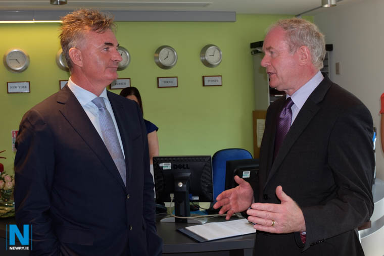Brian Conlon with the late Deputy First Minister, Martin McGuinness at First Derivatives in 2014. Photograph: Columba O'Hare/ Newry.ie