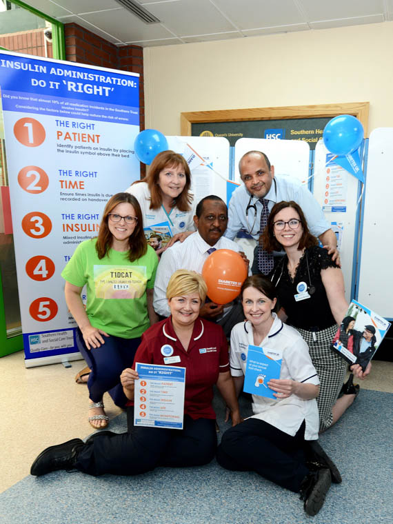 Daisy Hill Hospital's Diabetes Team will be raising awareness of the importance of insulin safety amongst staff, patients and carers this week for Diabetes Week pictured are Dr Ibrahim, Dr Abdelaal, Dr Sarinda Millar, Podiatrists Jackie Campbell and Cathy Harvey, Assosciate Specialist Dr Donna Muckian and Diabetes Specialist Nurse, Aine Kelly.