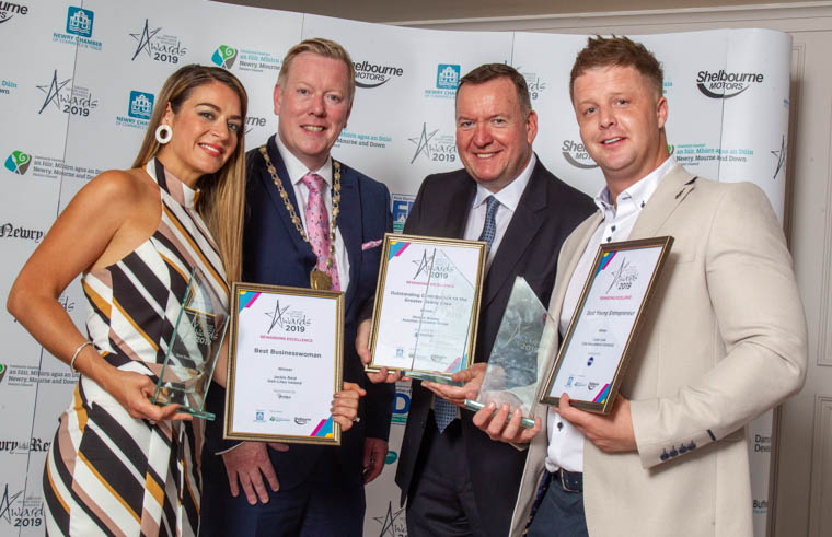 Celebrating Success at the Greater Newry Area Business Awards L to R Best Businesswoman Jackie Reid Deli-Lites, Paul Convery President Newry Chamber; Michael Blaney, MD Ashtree Financial Services winner of Outstanding Contribution Award and Conor Cole, Cole Groundwork Contracts, Best Young Entrepreneur.