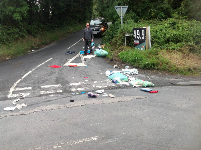 Cllr Terry Hearty at the scene of another littering incident in South Armagh.