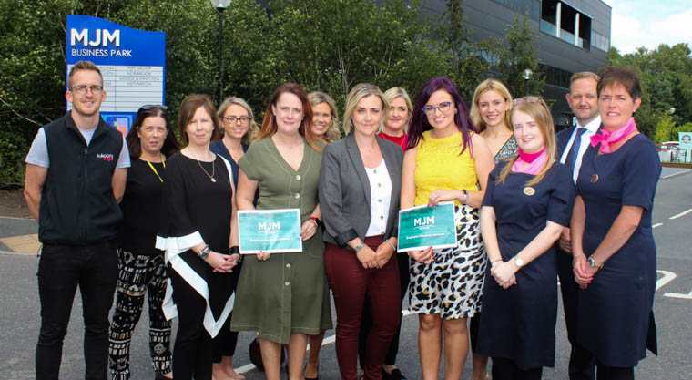 "MJM Marine has launched an Employee Discount Scheme to encourage its workforce to support local businesses by ""shopping local"". The company's Social Charter Committee has secured the support of over 20 local businesses who have agreed to offer discounts to MJM Marine employees. Pictured at the launch is representatives for some of the participating companies including The Canal Court Hotel, Donaghy's, Banbridge, Jack Murphy Jewellers, Lee Opticians, Bennett's Jewellers, Kukoon, Blushing Violet and Granite Breakdown. Also pictured is Gary Annett, CEO, MJM Marine, Deborah Loughran, Group Head of Marketing and Communications  and Sharon Doran, Marketing Manager, MJM Marine."