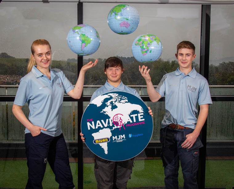 MJM Marine launch their new Navigate Programme with the help of some of their most recent apprentices (L to R) Cara Duncan, Caolan Griffin and Conor Morgan