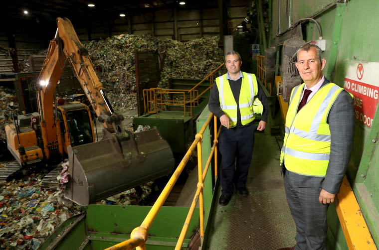 Managing Director of Re-Gen Waste Joseph Doherty with Environment Minister Edwin Poots MLA on a tour of Re-Gen Waste's Materials Recycling Facility in Newry. Yesterday's visit provided an opportunity for the Minister to take a tour of the plant which has undergone a £9 million investment in the last four years and tp discuss the recent 'Future Recycling and Separate Collection of Waste of a Household Nature in Northern Ireland' consultation and how NI can meet a recycling target of 65%.
