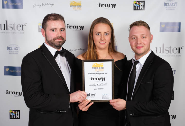 The Hotel Restaurant of the Year Award at the 2019 NI Hotel Awards was presented to Killeavy Castle Estate. Enjoying the success are Darragh Dooley, Sarah Buchanan and Dario Percac. Photograph: David Cordner