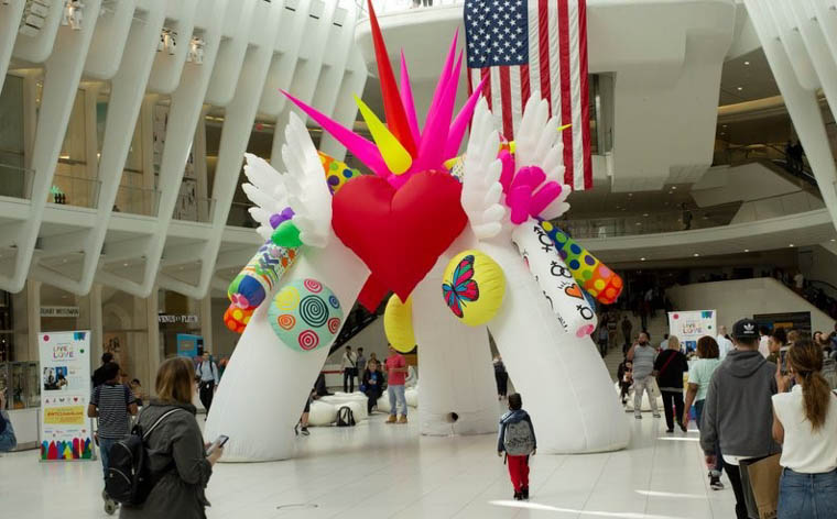 The 'Live 4 Love' installation in the World Trade Centre NYC.