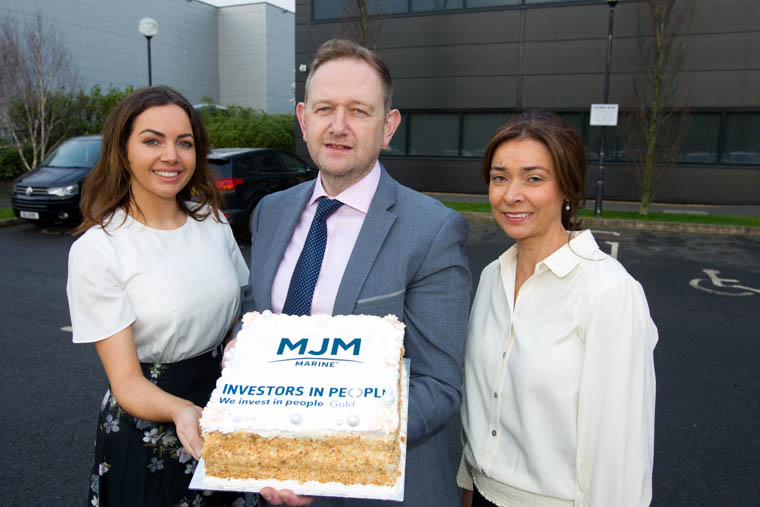 Naoimh McAteer, left, MJM Group Director pictured with Gary Annett, CEO MJM Marine and Elizabeth O'Connor HR & Legal Director MJM Marine celebrating the company's achievement in receiving Gold accreditation from Investors in People.