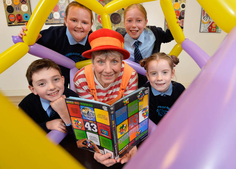 Making maths count during this year's Maths Week Ireland festival are Windsor Hill Primary School, Newry P5 pupils Emily, Tilly (back) Zak and Ellen with Bubblz the Maths Clown (Caroline Ainslie).
