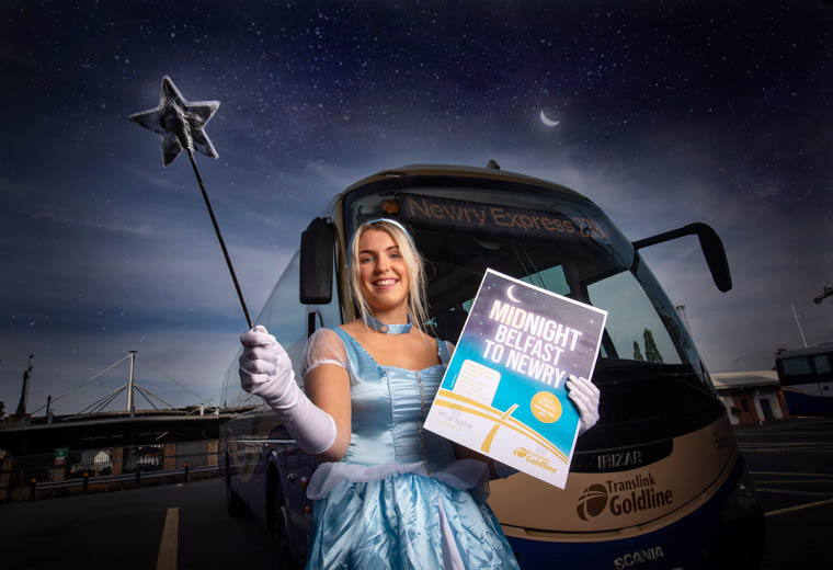 There are no midnight woes for this Cinderella, as Translink has announced midnight Goldline 238 departures from Belfast to Newry, serving Hillsborough, Dromore, Banbridge, Loughbrickland and Sheepbridge Park and Ride. The services will operate on Friday and Saturday nights, from Friday 6th September.
