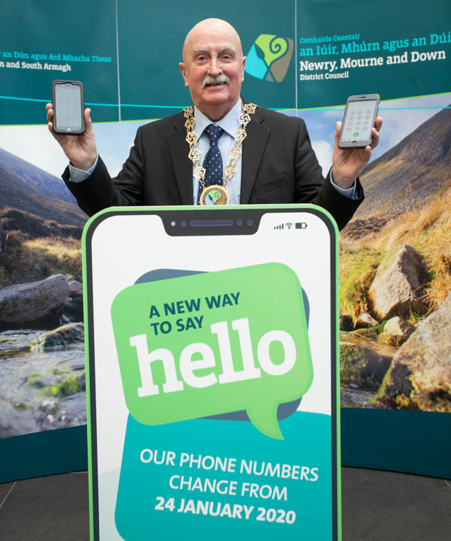 Newry, Mourne and Down District Council Chairperson, Councillor Charlie Casey announces that its telephone numbers are changing from 24 January 2020. Keep up to date at www.newrymournedown.org for key changes to our service telephone numbers.