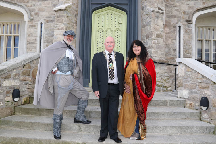 Newry, Mourne and Down Council Chairperson, Councillor Charlie Casey, with actor Anthony McFadden and local Newry playwright, Rosemary Tumilty. Her new play 'Hunter's Moon of Airgialla' will be performed at Killeavy Castle on 2 and 3 November.