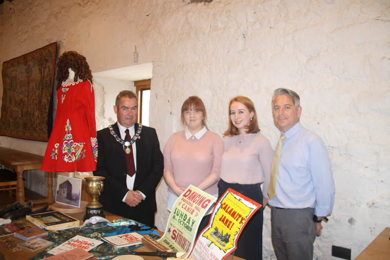 Newry, Mourne and Down District Council Deputy Chairperson, Councillor Terry Andrews, pictured with Museum Assistants, Joanne Glymond and Noelle Murtagh, and Museum Education Officer, Declan Carroll at the launch of Newry and Mourne Museum's new Performing Arts Reminiscence Box. (Newry and Mourne Museum Collection)