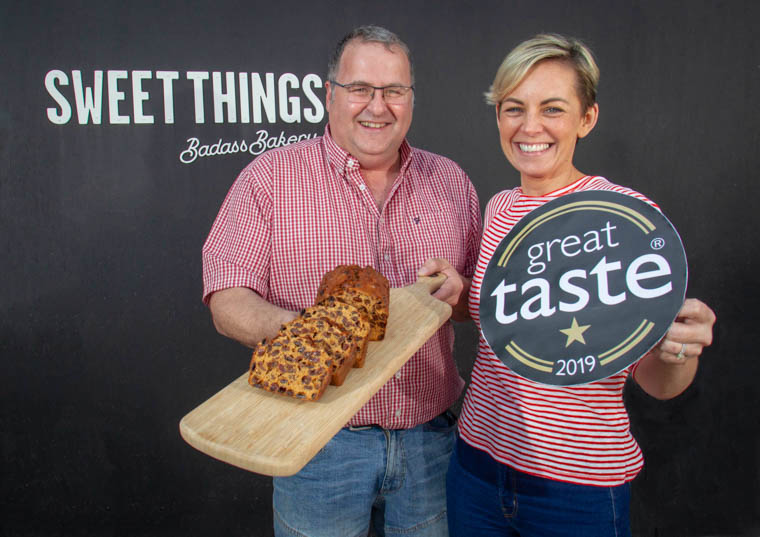 Steve Fargo, General Manager, and Ciara Byrne, Commercial Director, are pictured with the Great Taste Award at the company's Newry headquarters where they celebrated the award with their team.