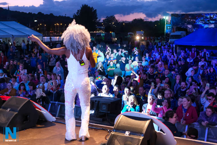 Heather Small of M People performing at the Albert Basin in Newry as part of UK and Ireland Pride 2019. Photograph: Columba O'Hare/ Newry.ie