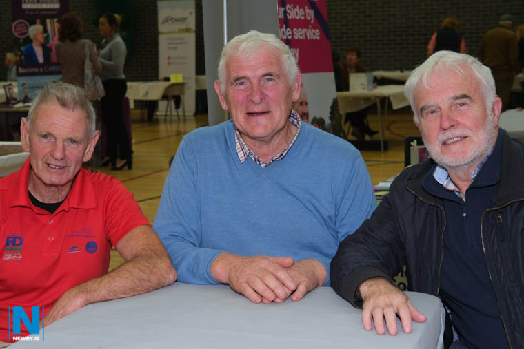 Lislea Mens Shed members Mickey Mallon, Jim Mooney and Seamus King enjoying the crack at a Positive Ageing Week event in Newry Leisure Centre. Photograph: Columba O'Hare/ Newry.ie
