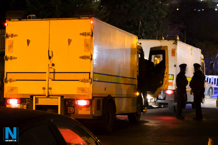 The bomb disposal team at the scene of a security alert in Newry tonight. Photograph: Columba O'Hare/ Newry.ie