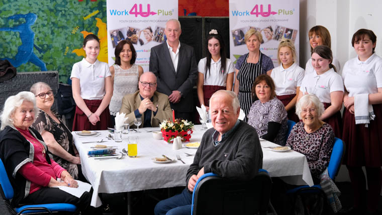 Pictured at the Work4Uplus Intergenerational Silver Service Event at Newry and Mourne Enterprise Agency, WIN, Newry. Included are guests, seated from left: Phylis Watson, Eileen Redford, Peter McEvoy, Michael Hughes, Bronagh Patterson and Maureen Patterson.  Also included standing from left: Sophie Casey, student; Pauline Coghlan, Programme Manager, Work4UPlus; Sean Crawford, Facilitator;  Debbie Carr, student; Aine Boyle; Abbie Collins, student; Ciara McGrath, Facilitator; Jenna O'Hanlon, student and Toni Connolly, student. Photograph: Columba O'Hare/ Newry.ie