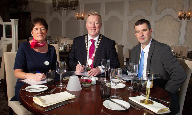 Pictured at the launch of this year's Annual President's Banquet include Louise Young, Conference and Banqueting Manager at the Canal Court Hotel & Spa, Paul Convery, President of Newry Chamber of Commerce & Trade and Philip McNeill, Business Development Manager at Ulster Bank.