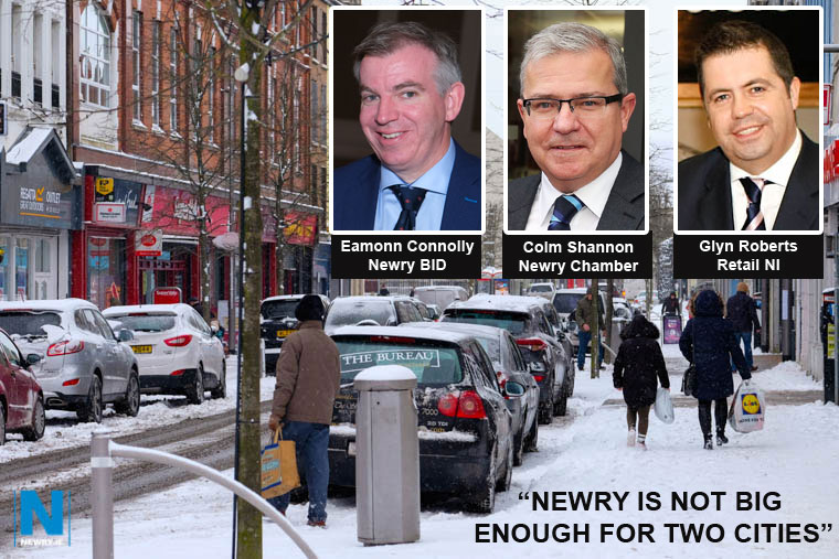 Newry Chamber Chief Executive, Colm Shannon, Newry BID Managing Director, Eamonn Connolly and Retail NI Chief Executive, Glyn Roberts have called for Newry, Mourne and Down Council to reject the Carnbane retail park development.
