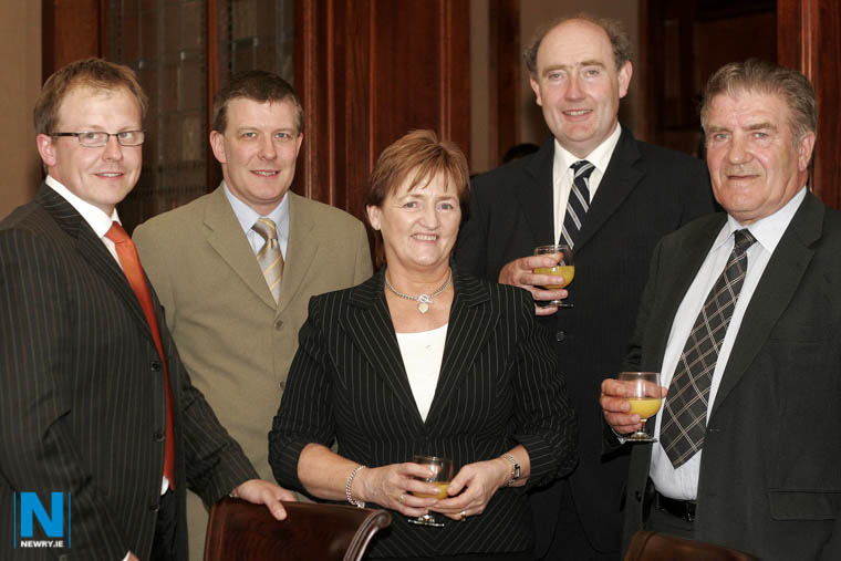 Cllr Geraldine Donnelly pictured in 2006 at Expo 06 in Newry with John McGinn; Conor Patterson, Chief Executive, Newry and Mourne Enterprise Agency; John McMahon, Chairman, Newry and Mourne Enterprise Agency and Cllr Anthony Williamson, Newry and Mourne District Council. Photograph: Columba O'Hare/ Newry.ie