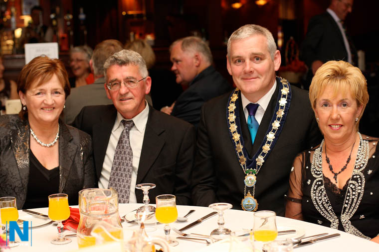Cllr Geraldine Donnelly and husband Sean and Mayor Coleman Burns with his wife Kathleen enjoying the Newry Show Dinner in the Canal Court.