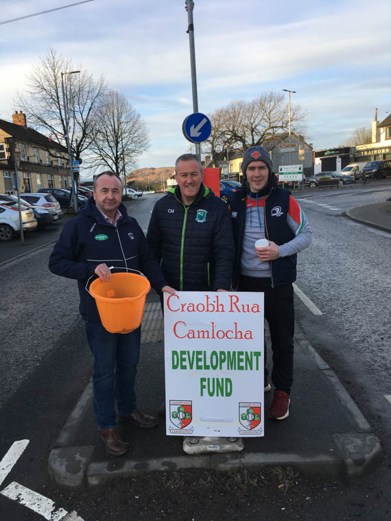 Pat McGinn, Conor Murphy & Miceal Doran helping out in the recent Craobh Rua Camloch Village Street Collection which raised £800