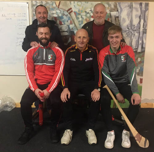 Pictured at a recent hurling coaching session for the club. Back. Pat McGinn Peter O Hanlon Front Fiachra Bradley Martin Fogarty Tiarnan O Hare