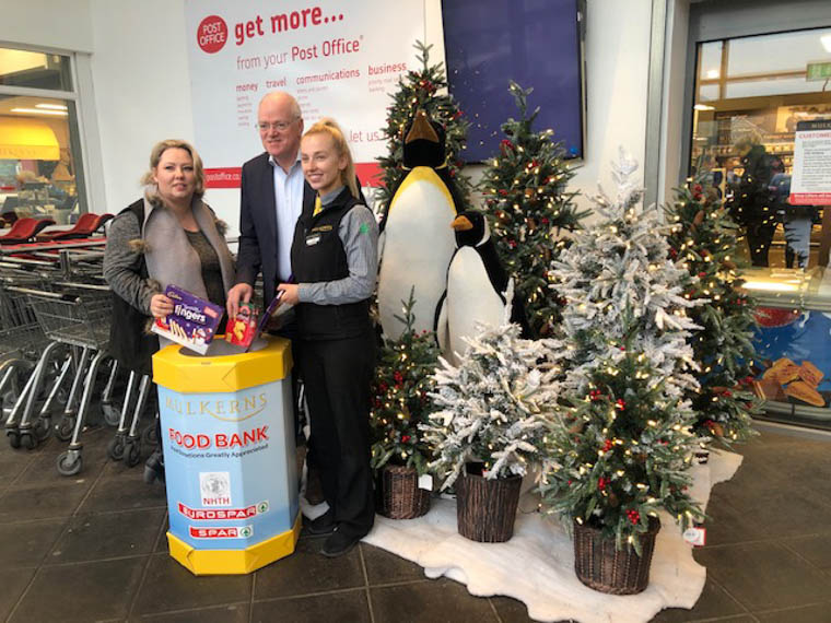 Stella Maguire (NHTH), Terry Mulkerns (Mulkerns Eurospar) & Enya McAteer (Mulkerns Eurospar) at the launch of the Food Bank.