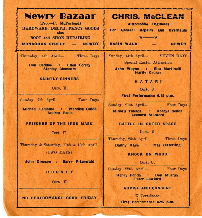 Programme from the Imperial Cinema in Newry listing films on show in April 1963 Newry and Mourne Museum Collection