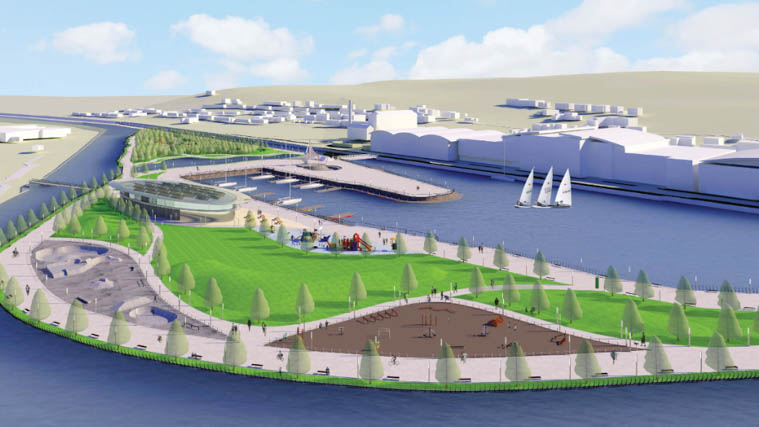 An artists impression on what the new Newry park could look like.