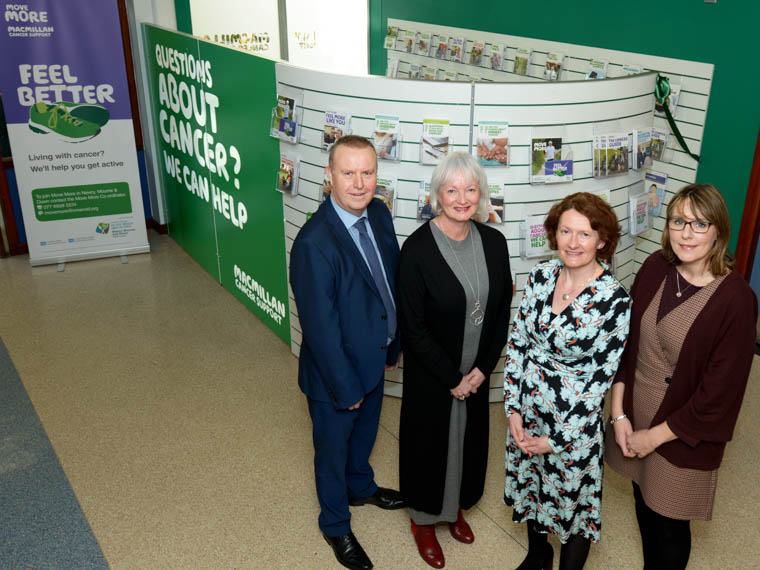 Pictured at the launch of the new Macmillan Cancer Information and Support Hub at Daisy Hill Hospital are Barry Conway, Assistant Director of Acute Services, Southern Trust, Heather Monteverde, Head of Service for Macmillan in NI,  Lynne Smart, Head of Health Improvement, Southern Trust and Fiona Reddick, Head of Cancer Services, Southern Trust.