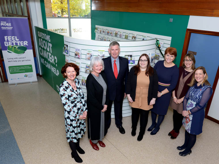 The Macmillan Health and Wellbeing Steering Group at the launch of the new Macmillan Cancer Information and Support Hub at Daisy Hill Hospital – Lynne Smart, Head of Health Improvement, Southern Trust, Heather Monteverde, Head of Service for Macmillan in NI,  Dr Gerry Millar, Caroline Davies, Macmillan Health and Wellbeing Support Worker,  Sinead Hughes, Promoting Wellbeing Specialist Lead, Southern Trust, Fiona Reddick, Head of Cancer Services, Southern Trust and Caroline Beattie, Macmillan Service Improvement Lead, Southern Trust
