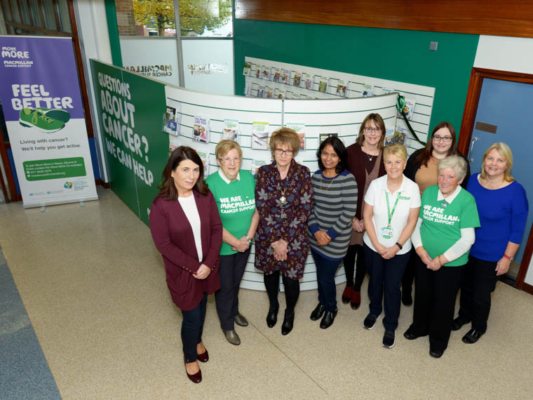 Donna Sloan, Southern Trust Volunteer Co-Ordinator Newry and Mourne with Macmillan Information and Fundraising Volunteers Marie Rafferty, Lorraine Haugh, Mohini Prajapat, Frances McMillan and Martha McGrath with back row l-r Fiona Reddick, Head of Cancer Services, Southern Trust, Caroline Davies, Macmillan Health and Wellbeing Support worker and Kate Johnston Southern Trust Volunteer Coordinator Armagh and Dungannon  at the launch of the new Macmillan Cancer Information and Support Hub at Daisy Hill Hospital.