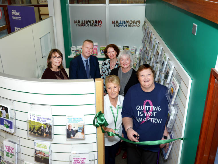 Pictured at the launch of the new Macmillan Cancer Information and Support Hub at Daisy Hill Hospital  are, back from left: Fiona Reddick, Head of Cancer Services, Southern Trust Barry Conway, Assistant Director of Acute Services, Southern Trust, Lynne Smart Head of Health Improvement, Southern Trust and Heather Monteverde, Head of Service for Macmillan in NI. Front: Frances McMillan, Daisy Hill Hospital Volunteer and Margaret McAteer, service user, pictured at the launch of the new Macmillan Cancer Information and Support Hub at Daisy Hill Hospital