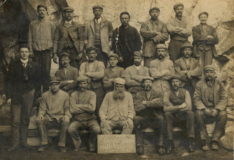 Employees at Clanrye Mills in 1908. Henry Lyons, one of the four senior staff who purchased the Mill from Robert Sands' widow, is standing in the front row, extreme left. Newry and Mourne Museum Collection