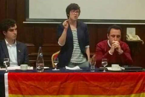 Lyra McKee speaking at the 2016 Pride in Newry event with Matthew Corr and Cllr Pete Byrne.
