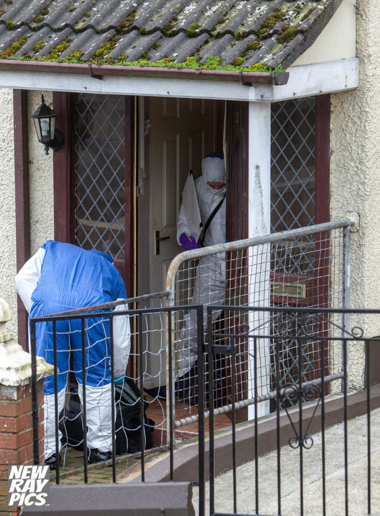 Forensic officers at the scene in Bessbrook. Photograph: NewRayPics.com