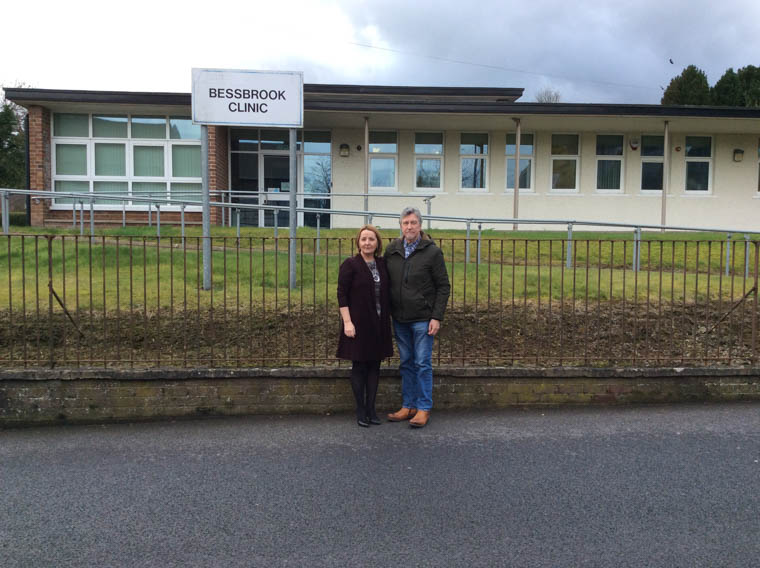 Mickey Brady MP & Cllr Roisin Mulgrew outside Bessbrook Clinic