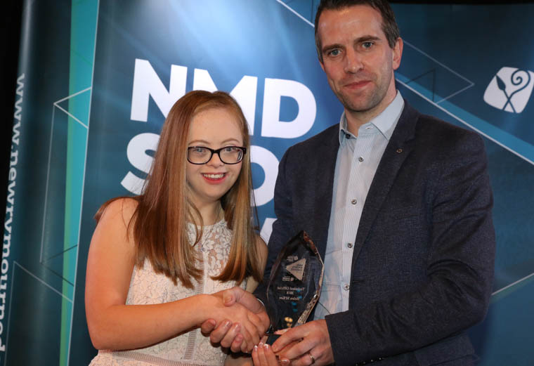Technical Official of the Year 2018: Councillor Barra Barra Ó Muirí pictured with Rachel Crossey receiving the award for Helen McKee, Special Olympics Newry.