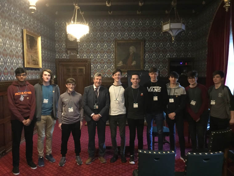 Newry and Armagh MLA Mickey Brady with pupils from Abbey CBS on a trip to Westminster.