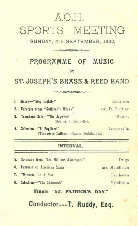 Programme of music by St. Joseph's Band to accompany a Sports Meeting organised by the Ancient Order of Hibernians at The Marshes, Newry, 4th September 1932 Newry and Mourne Museum Collection