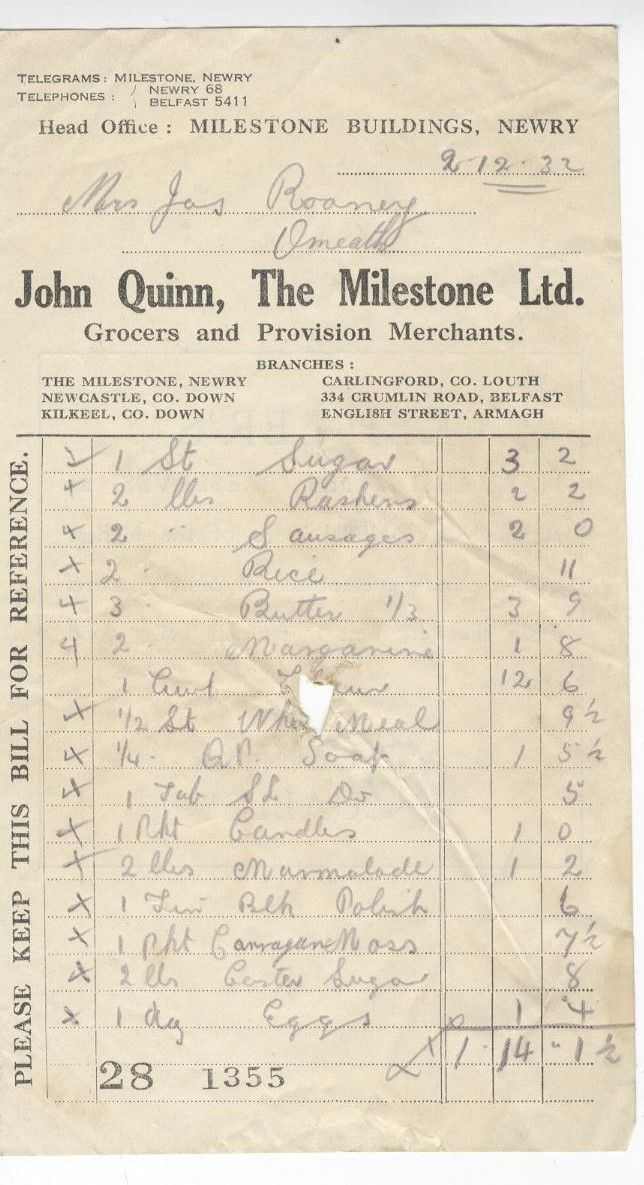 An invoice from John Quinn, The Milestone Ltd, dated 1932, showing the wide range of provisions stocked. Newry and Mourne Museum