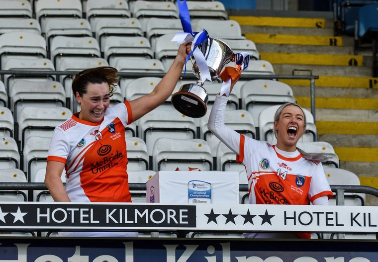 Armagh Joint Captains Orlagh Murray and Rachael Merry celebrate their All Ireland win over Cavan. Photograph: Brendan Monaghan.